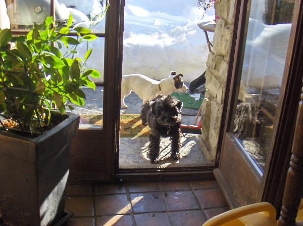 A la porte de la cuisine, on attend nos gamelles!